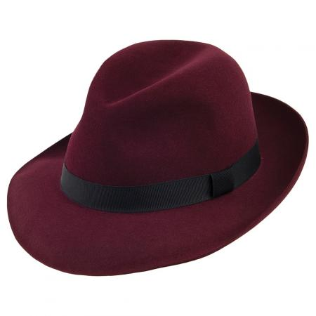 Foldaway Trilby Hat in burgundy by Christys