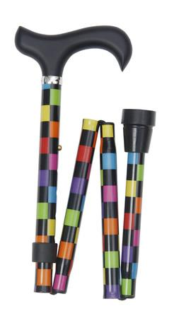 Folding Derby Handled Walking Stick  Black with Multi-colour check