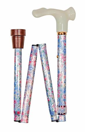 Folding Floral Cane with Anatomic Handle right handed version shown