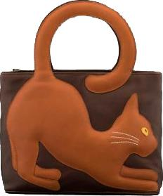 Grizabella the Cat Applique Brown Leather Grab Bag