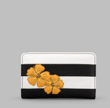 Hibiscus Medium Zip Around Leather Purse
