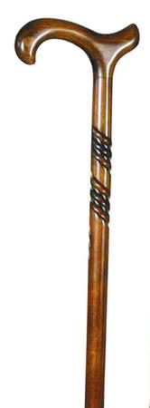 Ladies Beech Derby Walking Cane with spiral carving