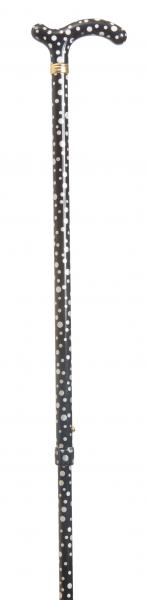 Ladies Petite Fashion Cane Black with White Spots