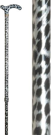 Ladies Petite Fashion Derby Walking Stick in snow leopard skin print