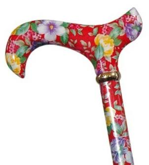 Ladies Tea Party Extending Derby Walking Cane red floral