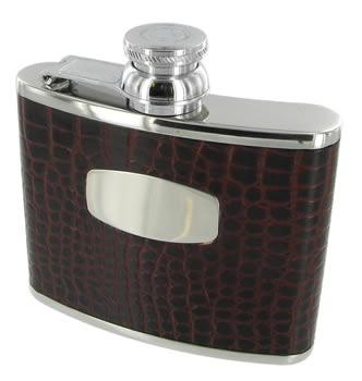 4oz Leather Bound Mock Croc Hip Flask by Bisley