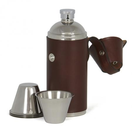 Leather Bound Stainless Steel Flask and Cup Set