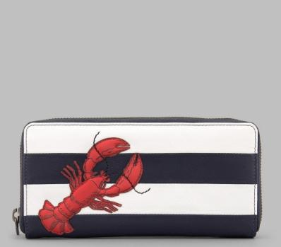 Lobster Zip Around Leather Purse