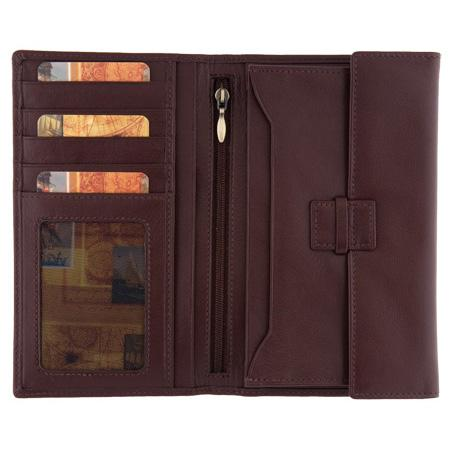 1642 Men's Long Leather Jacket Wallet brown open