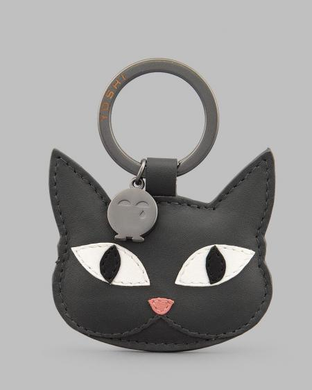 Misty The Cat Grey Leather Keyring YKR KTN 35