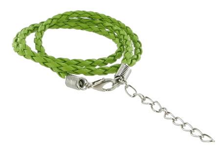 Multi-coloured Plaited Necklace Green