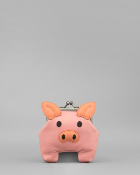 Oink The Pig Applique Pink Leather Clip Top Coin Purse