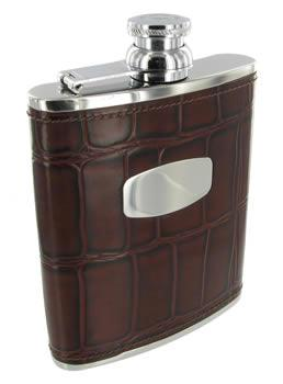 6oz Leather Bound Mock Croc Hip Flask by Bisley