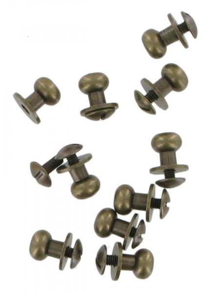 Pack Of Ten Antique Brass Finish Sam Browne Studs Large COXSB3AB