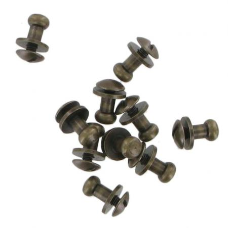 Pack Of Ten Antique Brass Finish Sam Browne Studs Small COXSB4AB