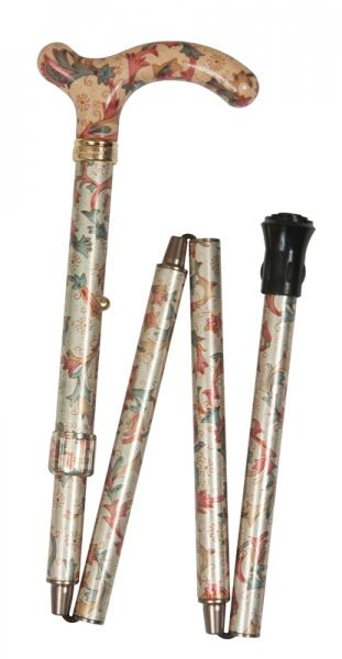 Petite Folding Floral Walking Cane cream, red and green floral
