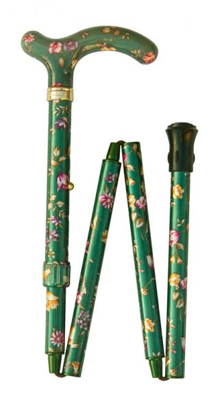 Petite Folding Floral Walking Cane green floral