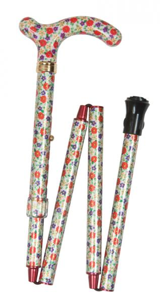 Petite Folding Floral Walking Cane orange and purple floral