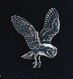 pewter barn owl badge