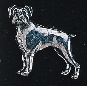 pewter boxer dog badge