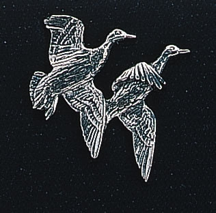 pewter double mallard duck badge