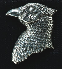 pewter pheasants head badge