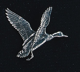 pewter rising mallard duck badge