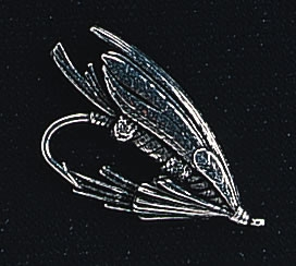 pewter salmon fly badge