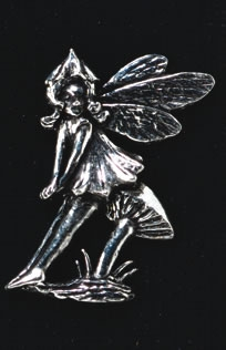 pewter sitting fairy badge