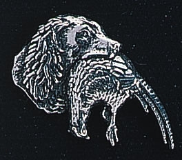 pewter spaniel and pheasant badge