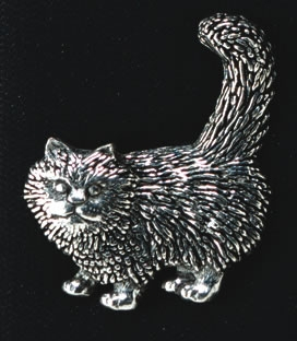 pewter standing cat badge