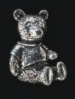 pewter teddy bear badge