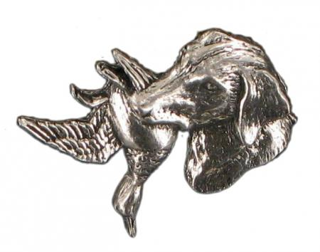 Pewter Labrador And Duck Badge