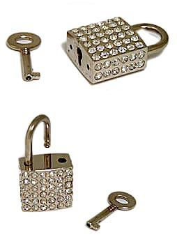 Rhinestone covered padlock ohl3381