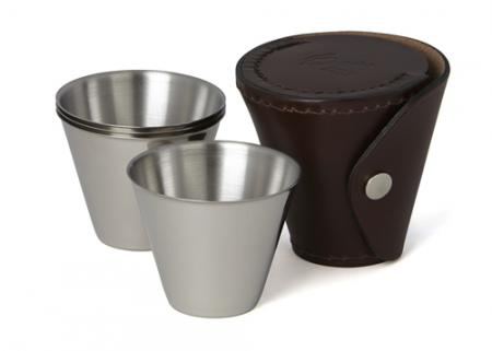 Set of Four Medium Stainless Steel Spirit Cups in Leather Case
