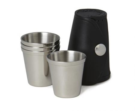Set of Four Stainless Steel Spirit Cups in Leather Case