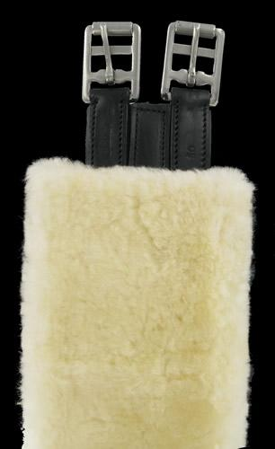 Sheepskin Girth Sleeve by Cottage Craft shown on a black Jeffries Girth