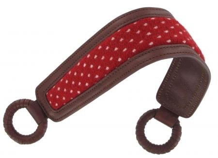 Short Shoulder Strap in brown with spotted red padding SRSS8