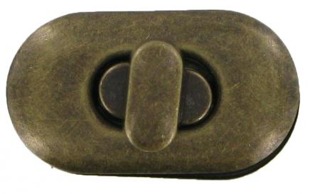 Small Oval Turn Lock for handbags CXTL12AB antique brass