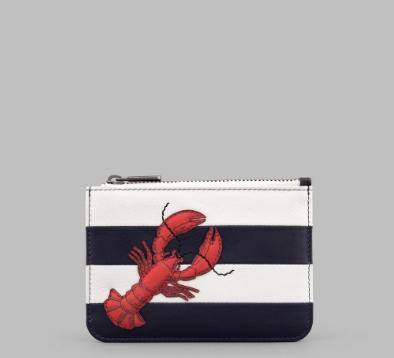 Stripe Leather Zip Top Lobster Purse in navy and white