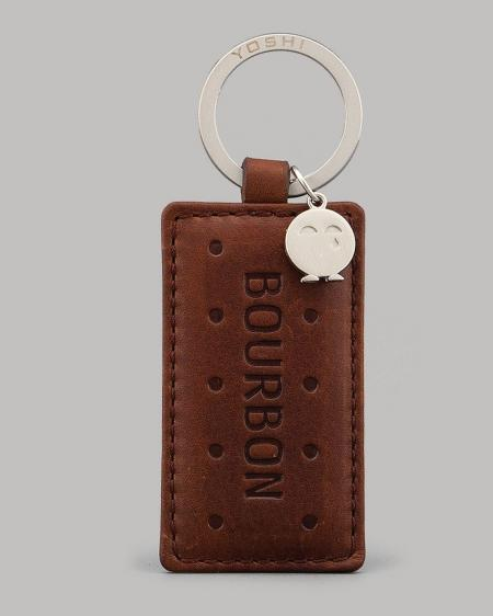 Bourbon Biscuit Leather Keyring.