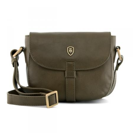 The Rosedene Italian Leather Flap Over Bag in olive