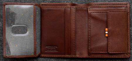Tudor Abridged Wallet in brown Leather shown open