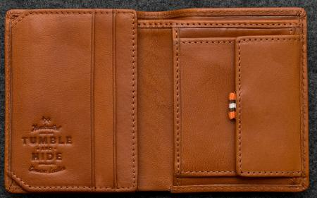 Tudor Abridged Wallet in tan Leather shown open