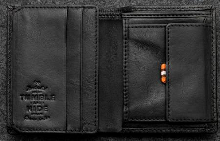 Tudor Abridged Wallet in black Leather shown open