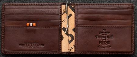 Tudor Money Clip Wallet in brown Leather
