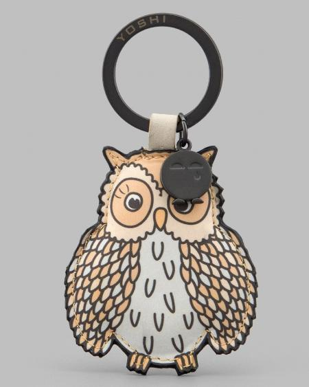 Twit Twoo Cream Leather Owl Keyring YKR TWOO 10