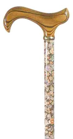 Walking Stick with Wooden Derby Handle in Autumn Gold Pattern
