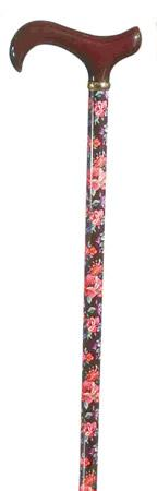 Walking Stick with Wooden Derby Handle in Red Floral Pattern