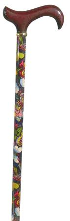Walking Stick with Wooden Derby Handle with Butterfly Pattern